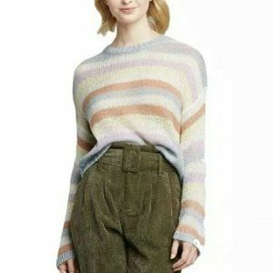 NWT Wild Fable Rainbow Stripe Sweater S Cropped